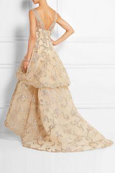 Oscar de la Renta | Metallic-appliquéd tulle gown | NET-A-PORTER.COM