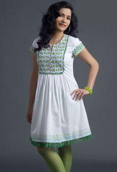 Off White Cotton Readymade Tunic Itemcode: TWS1351 Price: US$ 31.96 Click @ http://www.utsavfashion.com/store/item.aspx?icode=tws1351