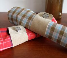 Leather and cufflink napkin rings (could use felt and buttons)