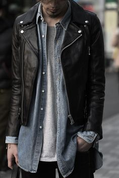Men's layered street style... t-shirt, denim shirt and black leather biker jacket