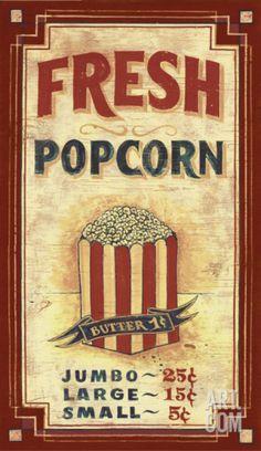 +vintage+popcorn   Popcorn Vintage Wood Sign at Art.com