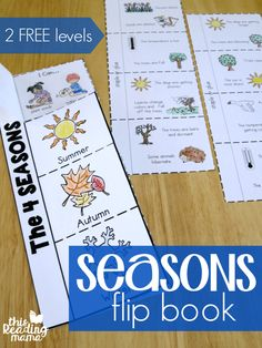 One of the fun and hands-on activities from my Seasons Unit Study is this 4 Seasons Flip Book. Actually, there are two seasons flip books included: one that's more picture-based with simple langua Seasons Worksheets, Seasons Activities, Weather Activities, Hands On Activities, Science Activities, Kids Worksheets, Kindergarten Worksheets, Printable Worksheets, Free Printable