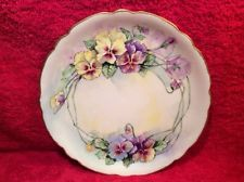 Antique Hand Painted JPL Limoges Pansy Flowers Plate c.1890-1932, L250