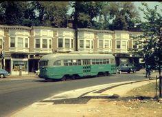 Capital Transit PCC turning onto M Street NW from Key Bridge (1955).