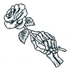 Skeleton Hands Drawing, Skeleton Hand Tattoo, Skeleton Flower, Skull Hand, Flower Skull, Hand Holding Rose, Hand Holding Something, Hands Holding Flowers, Hand Flowers