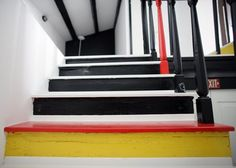 5 Painted Staircases That Will Blow Your Mind Mondrian, Yellow Stairs, Luxury Website, House Of Gold, Painted Staircases, Stair Decor, Take You Home, Inspiration Design, Banisters
