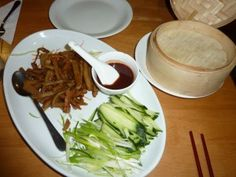 Mock Duck in Plum Sauce Pancakes, with Hoi Sin, Cucumber, Spring Onions