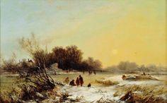 British Landscape Paintings | George Augustus Williams: Winter Sunset (ca. 1855)