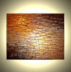 Abstract Metallic Reflective ORIGINAL PAINTING Contemporary Impasto Gold Bronze Palette Knife Textur