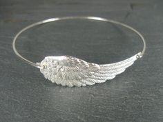 Silver angel wing bangle bracelet - Angel Wing Jewelry - Silver Jewelry - Angel Wing Bracelet - Wing Jewelry - Silver Wing Jewelry by BaubleVine on Etsy https://www.etsy.com/listing/189150400/silver-angel-wing-bangle-bracelet-angel