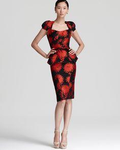 Zac Posen Runway Dress - Peony Printed with Cap Sleeves | Bloomingdale's