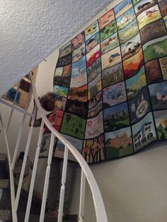 While hanging on the staircase wall - the only one big enough for 2,40 x 2,50 m beautiful quilt.