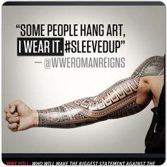Love his tribal sleeve tattoo!