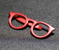 f3f467664db7 Trendy Fashion Red Glasses Shape Slim Skinny Tie Bar Clip Clasp Clamp