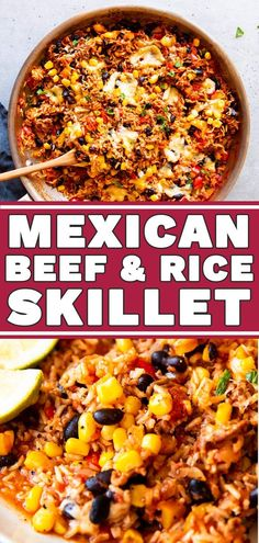 Ever ask yourself what to make with ground beef and rice? This Mexican Beef and Rice Skillet is your answer: An easy weeknight dinner, all cooked in one pot! Less dishes to wash is always a win with ground beef dinner One Pot Mexican Beef and Rice Skillet Healthy Ground Beef, Ground Beef Recipes For Dinner, Dinner With Ground Beef, Dinner Recipes, Recipies With Ground Beef, Dinner Ideas With Beef, Recipes With Beef And Rice, Meals To Make With Ground Beef, Casseroles With Ground Beef