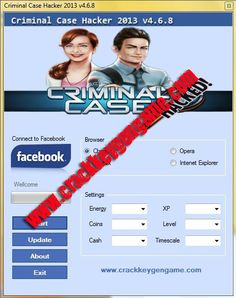 Criminal Case Hack Tool | Criminal Case Cheat [Daily Update] 2013  Posted by: kole August 30, 2013in Facebook Games Cheat Hack 1 Comment Views:296 Criminal Case Hack 2013 New Version v4.6.8 Free Download (Criminal Case Cheat)