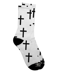 TooLoud Christian Crosses Adult Crew Socks Select Your Size All Over Print