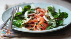 BBC Food - Recipes - Salmon ceviche with fennel salad.Use a wild caught salmon, not farm raised Cured Salmon Recipe, Salmon Recipes, Fish Recipes, Tapas Dishes, Fish Dishes, Ceviche, Starters For Dinner, Spicy Steak, Peruvian Dishes