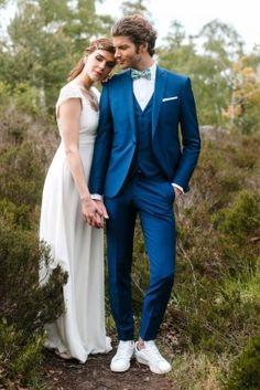 Costume sur mesure en toile de laine et kid mohair bleu canard
