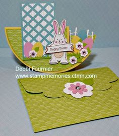Stampmemories with Debbi: CTMH Simply Inspired Blog Hop A circle side step card using Spring Critters stamps & matching thin Cuts and Penelope paper!