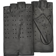 Forzieri Women's Black Perforated Fingerless Leather Gloves ($98) ❤ liked on Polyvore featuring accessories, gloves, leather driving gloves, leather gloves, driving gloves, fingerless leather gloves and fingerless driving gloves