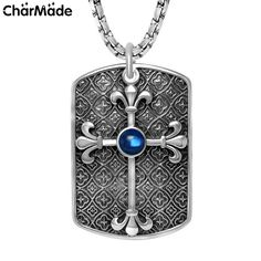 Mens Black Oxidized Cameo Cross Flower Tag Pendant Black Ruby Sapphire CZ Necklace in 316L Stainless Steel…