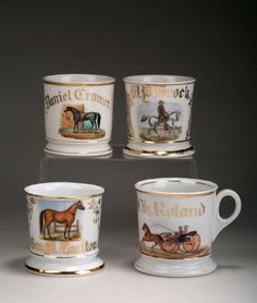 FOUR PORCELAIN PAINTED AND GILT OCCUPATIONAL SHAVING MUGS. | Northeast Auctions