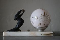 Elegant French Art Deco Table Lamp Bird on a Marble by maintenant
