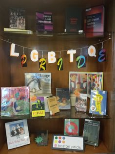 A Library tribute to LGBTQ Pride filled will resources on LGBTQ topics and children's books featuring LGBTQ characters (courtesy of Stacy Collins)