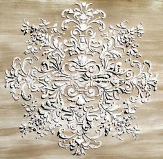 Plaster stencils for ceiling, wall, furniture, etc...lots of French Provençal style possibilities! Must try this!!!