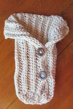 "Ravelry LBK63: Chunky ""baby cocoon,"" in a ""natural"" crochet ~ when all-buttoned-up, so cozy and sweet!"