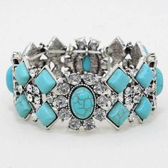 Chunky Western Elegant Turquoise Clear Crystal Silver Bracelet Free Size Jewelry #uniklook #bracelet
