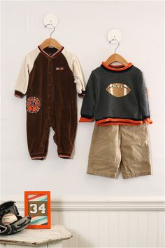 18 mo. Boys Team Player outfits featuring long sleeve fleecy one-piece outfit and football sweater and pants.