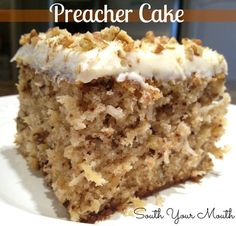 Tender moist cake with crushed pineapple, pecans and coconut with a cream cheese frosting. An old Southern tradition to make this cake when the preacher comes by for a visit.