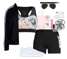 """💦💦💦"" by tumblrfashion11 on Polyvore featuring Ted Baker, adidas Originals, NIKE, Bobbi Brown Cosmetics, Dove, Monki, MAC Cosmetics, bkr and Ray-Ban"