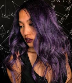 Stylists at Be Scene Studios created two purple hair-color trends you'll want to try this spring: taro bubble tea hair and smoked velvet hair. Hair Color Purple, Hair Dye Colors, Cool Hair Color, Purple And Green Hair, Hair Color Ideas For Dark Hair, Violet Hair Colors, Purple Wig, Dark Hair With Color, Spring Hair Colors