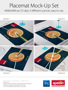 Placemat PSD mock-up set for graphic designers. (Freebie) 4000x3000 px (72 dpi), 4 different scences, easy to use, editable light setup layer.