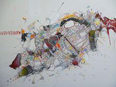 Inyección - Pintura,  122x100 cm ©2016 por Jonnattan Barreiro -                                                              Arte abstracto, Lienzo, Arte abstracto, Informalismo, abstracción, tachismo, ciencia ficción
