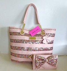 Betsey Johnson Stripe Sequins Blush Pink Tote Handbag & Convertible Wallet/Bag