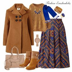 brown combination with blue. Modern Hijab Fashion, Abaya Fashion, Muslim Fashion, Fashion Dresses, Hijab Mode, Ootd Hijab, Hijab Outfit, Maxi Outfits, Modest Outfits