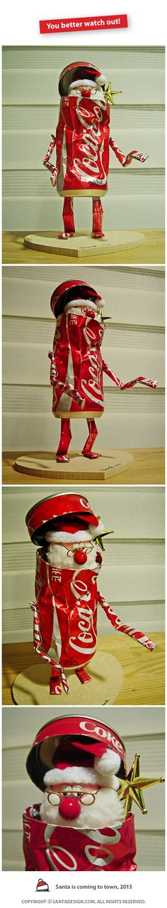 #You #better #WatchOut #Recycle #Toy #CAN #DIY / #Coke #CocaCola #SANTA #Robot #Machine / 2013