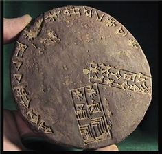 AKKADIAN-ASSYRIAN CALENDAR, ASHUR,1800 BC.  Stone-cast disc, brown-ochre  hydrostone, 120 mm (4.75 inches), 10 mm thickness (approx half inch) with parchment description. Calendar tablets like this and others discovered at Mari in Syria, make it clear that the Semitic Akkadians possessed a highly developed calendar by 1800 BC, with allocations based on a 29 and 30 day lunar month.