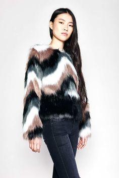 Onyx Faux Fur Jacket by John and Jenn