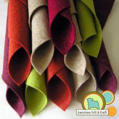 Wool Felt in Desert Botanical Garden Colors; Raisin, Granny Smith, Auburn, Chai and Beet Wool felt sheets