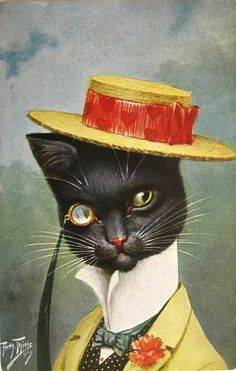 arthur thiele- black cat with red hearts ribbon