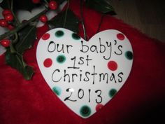 Choose from three lovely shapes heart, stocking or tree. The dots are red and slightly metallic green glaze and are clear glazed front and