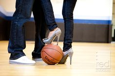 Cute basketball engagement photos... @Blair Tucker , you know we must do a few basketball shots for your engagement pics