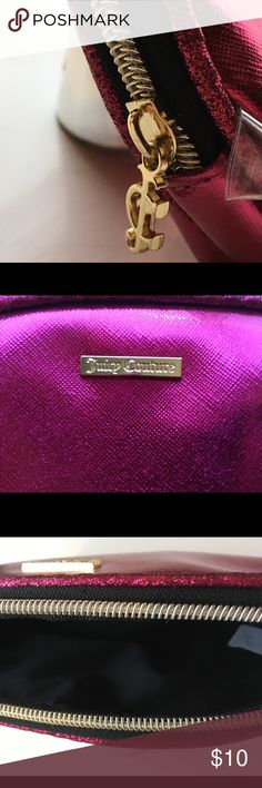 Juicy Couture NWOT Makeup Bag This is a brand new, NWOT, never used Pink Metallic Juicy Couture Makeup bag. This bag is a great travel makeup bag, and will fit anything from small brushes, to foundation bottles, to even mascara!  This would be a great gift, a great makeup bag for holiday travel, or A GREAT STOCKING STUFFER! 🛍🎄 Juicy Couture Bags Cosmetic Bags & Cases