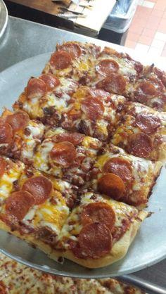 Sicilian crust! Sicilian, Hawaiian Pizza, Bologna, Casseroles, Restaurant, Food, Casserole Dishes, Casserole, Diner Restaurant
