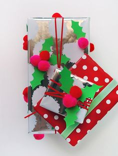 Make your own pom pom holly Christmas gift wrap